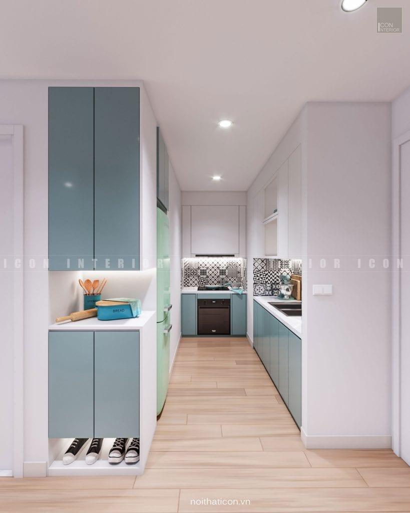 phối màu trong nội thất phòng bếp đơn giản