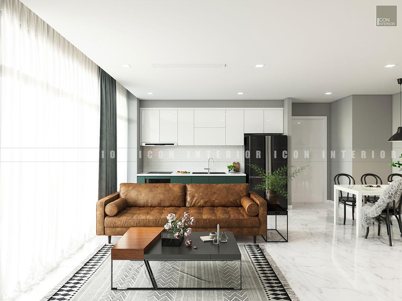 thiết kế nội thất căn hộ vinhomes ba son - phòng khách