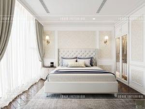 thiết kế nội thất phòng ngủ master theo phong cách tân cổ điển