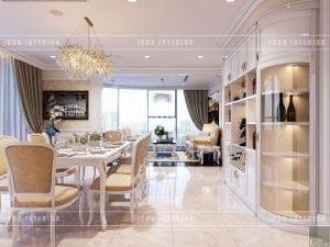 thiết kế nội thất theo phong cách tân cổ điển phòng khách bếp