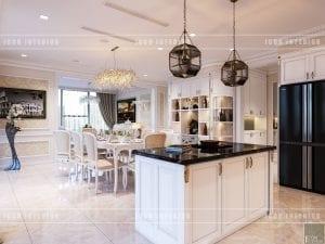 thiết kế nội thất theo phong cách tân cổ điển đảo bếp