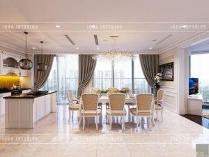 thiết kế nội thất theo phong cách tân cổ điển phòng ăn