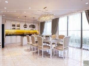 thiết kế nội thất phòng ăn theo phong cách tân cổ điển
