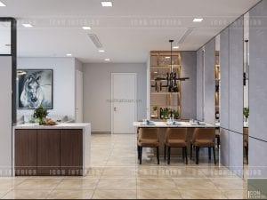 thiết kế căn hộ vinhomes golden river khách bếp