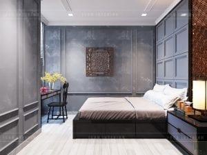 phòng ngủ master căn hộ aqua 3 vinhomes golden river