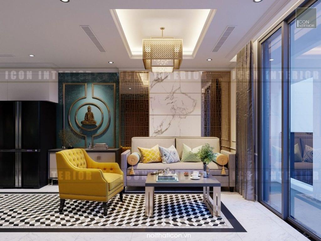 phong cách đông dương trong thiết kế nội thất phòng khách