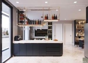thiết kế nội thất căn hộ chung cư cao cấp nhà bếp