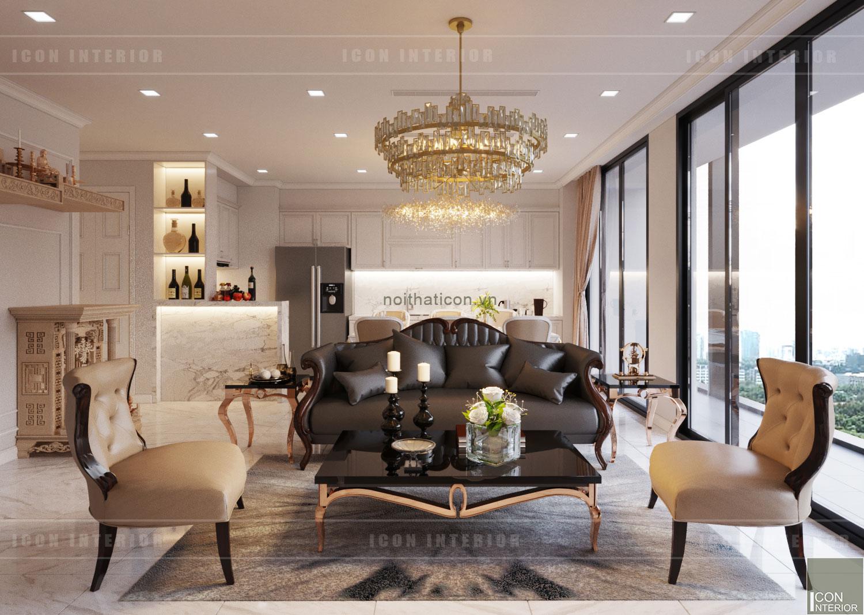 thiết kế nội thất tân cổ điển chung cư - phòng khách bếp 5