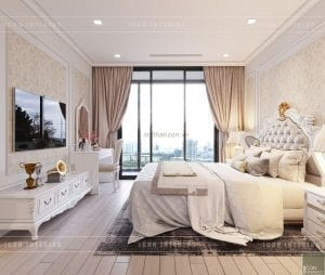 thiết kế nội thất tân cổ điển chung cư - phòng ngủ master 6