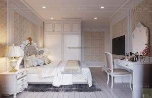 thiết kế nội thất tân cổ điển chung cư - phòng ngủ master 8