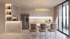 thiết kế nội thất tân cổ điển chung cư - phòng khách bếp 8