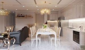thiết kế nội thất tân cổ điển chung cư - phòng khách bếp 7