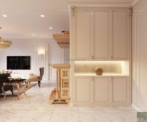 thiết kế nội thất tân cổ điển chung cư - phòng khách bếp 1