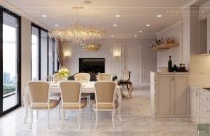 thiết kế nội thất tân cổ điển chung cư - phòng khách bếp 6