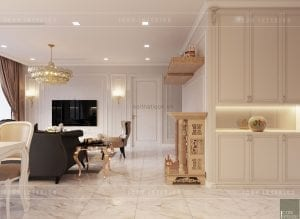 thiết kế nội thất tân cổ điển chung cư - phòng khách bếp 2