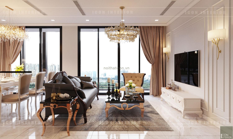 thiết kế nội thất tân cổ điển chung cư - phòng khách bếp 3