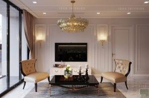 thiết kế nội thất tân cổ điển chung cư - phòng khách bếp 4