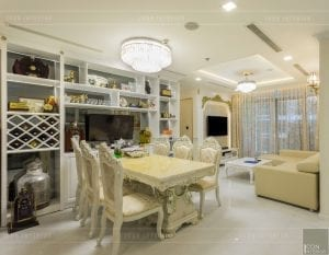thi công nội thất tân cổ điển vinhomes - phòng ăn