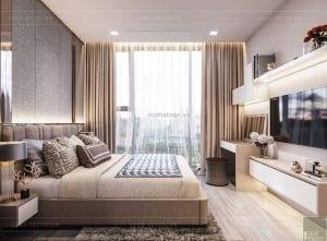 phòng ngủ căn hộ aqua 4 vinhomes golden river
