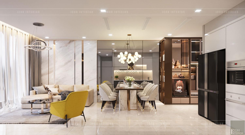 thiết kế nội thất căn hộ đẹp - phòng khách bếp