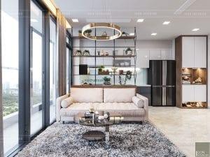 thiết kế phòng khách căn hộ vinhomes ba son