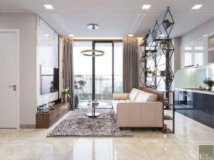thiết kế nội thất phòng khách liền bếp căn hộ xanh
