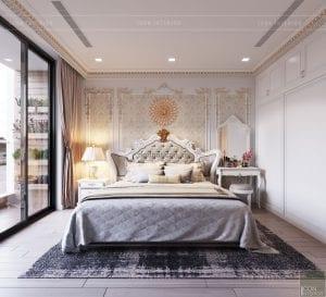 thiết kế nội thất tân cổ điển chung cư - phòng ngủ master 3