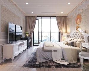 thiết kế nội thất tân cổ điển chung cư - phòng ngủ master 2