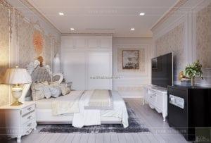 thiết kế nội thất tân cổ điển chung cư - phòng ngủ master 4