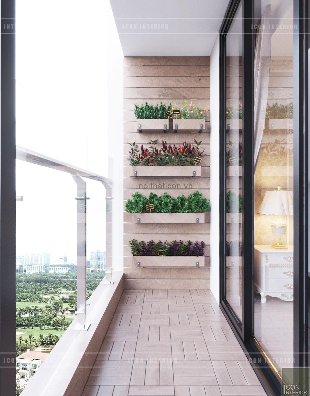 thiết kế nội thất tân cổ điển chung cư - ban công