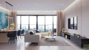 thiết kế phòng khách chung cư gateway thảo điền