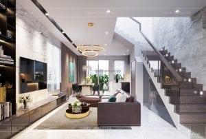 thiết kế biệt thự palm city - phòng khách
