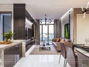thiết kế nội thất phòng khách liền bếp phong cách hiện đại