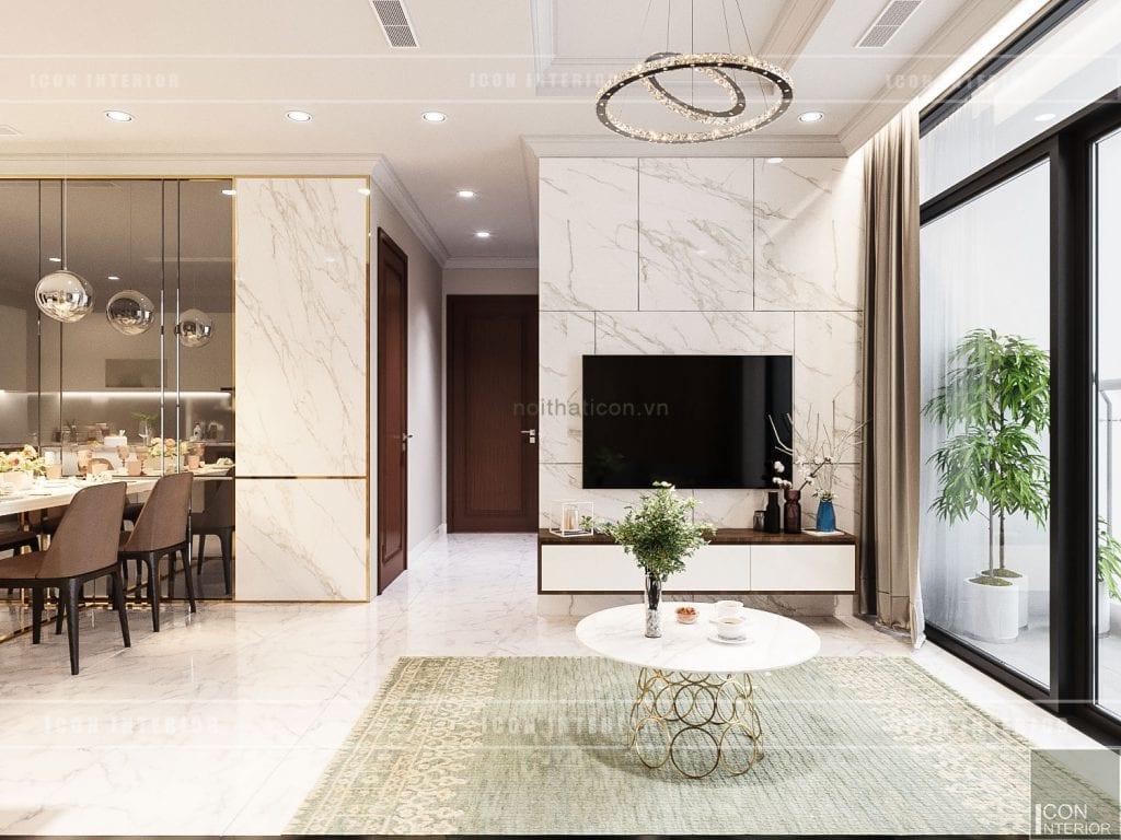 thiết kế phòng khách căn hộ landmark 1 vinhomes central park