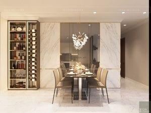 thiết kế phòng ăn căn hộ landmark 1 vinhomes central park