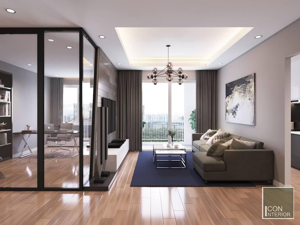 thiết kế căn hộ 50m2 hiện đại