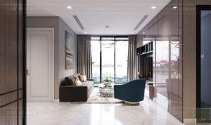 thiết kế nội thất căn hộ 3 phòng ngủ phòng khách