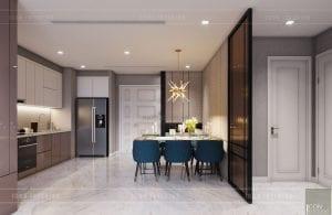 thiết kế nội thất phòng ăn căn hộ 3 phòng ngủ