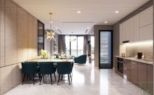 thiết kế nội thất căn hộ 3 phòng ngủ khách bếp