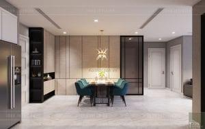 thiết kế nội thất căn hộ 3 phòng ngủ - phòng ăn