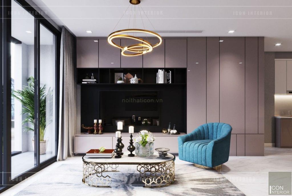thiết kế nội thất căn hộ 3 phòng ngủ - phòng khách
