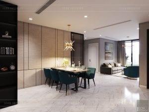 thiết kế nội thất căn hộ 3 phòng ngủ phòng ăn