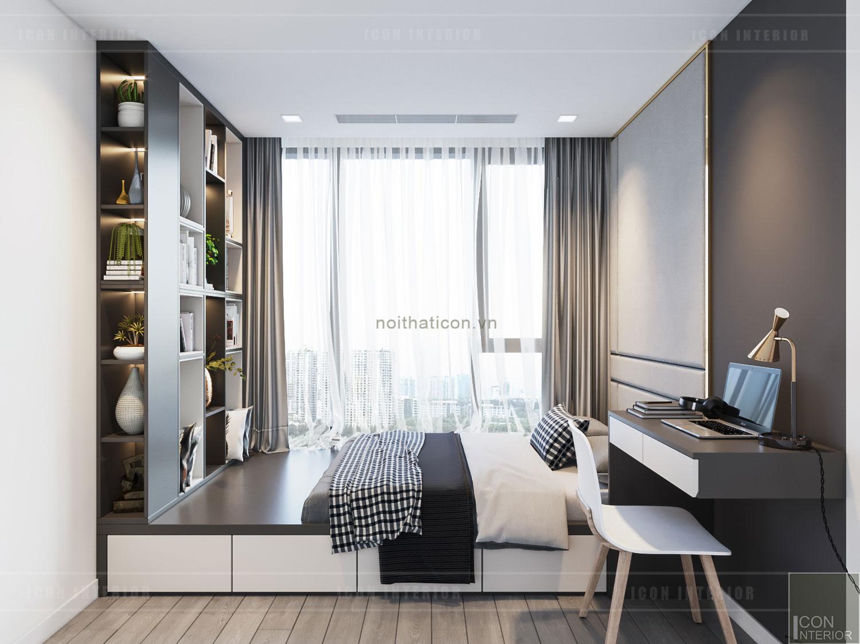 thiết kế phòng ngủ nhỏ hiện đại, tối giản