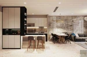 thiết kế chung cư vinhomes ba son - khách bếp
