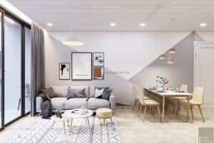 thiết kế căn hộ Scandinavian - phòng khách bếp