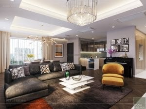 thiết kế căn hộ grand riverside - phòng khách