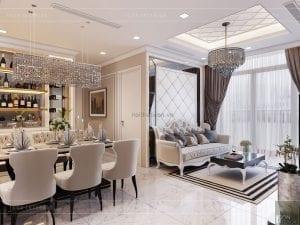 tư vấn thiết kế nội thất căn hộ phòng khách bếp
