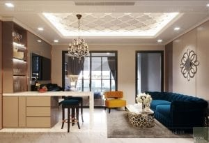 thiết kế căn hộ landmark 81 - phòng khách bếp