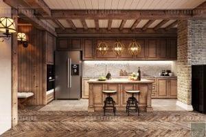 phong cách rustic trong nội thất - nhà bếp