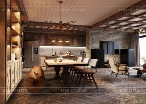 phong cách rustic trong nội thất - phòng ăn